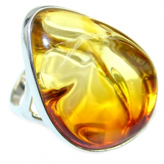 Luxury Genuine Baltic Polish Amber .925 Sterling Silver Ring size 6 1/4
