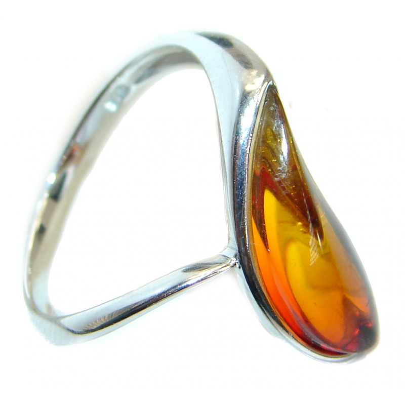 Luxury Genuine Baltic Polish Amber .925 Sterling Silver Ring size 7