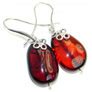 Genuine Baltic Polish Amber .925 Sterling Silver Earrings