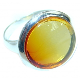 Genuine Baltic Amber Sterling Silver handmade Statment Ring size 7 1/2