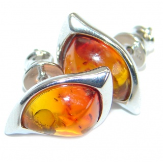 Luxury Genuine Baltic Amber .925 Sterling Silver handmade Earrings