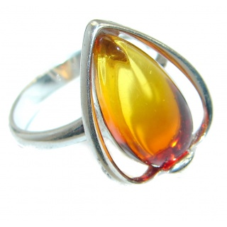 Luxury Genuine Baltic Polish Amber .925 Sterling Silver Ring size 6