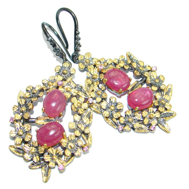 Juicy natural Ruby Gold Rhodium over .925 Sterling Silver handcrafted earrings