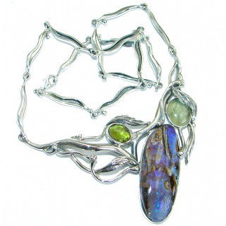 Large genuine Australian Boulder Opal .925 Sterling Silver brilliantly handcrafted necklace