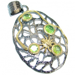 Unique design authentic Peridot .925 Sterling Silver Pendant