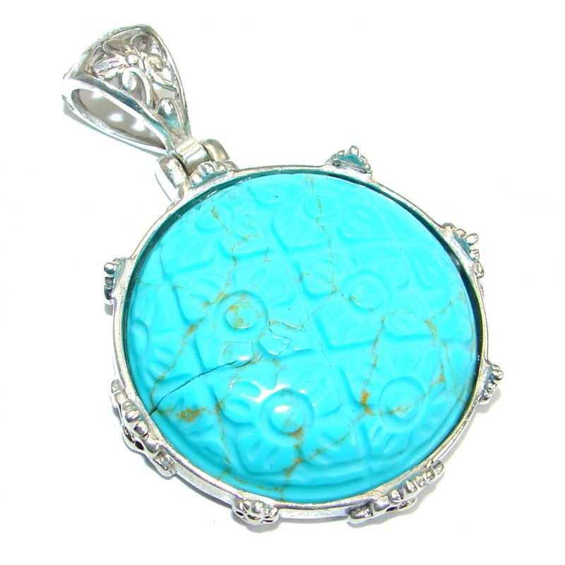 Vintage Style Turquoise .925 Sterling Silver Pendant