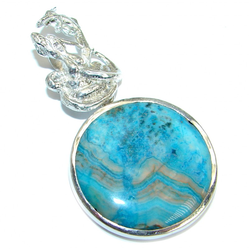 Two Dragons Fabulous Moss Agate .925 Sterling Silver handmade pendant