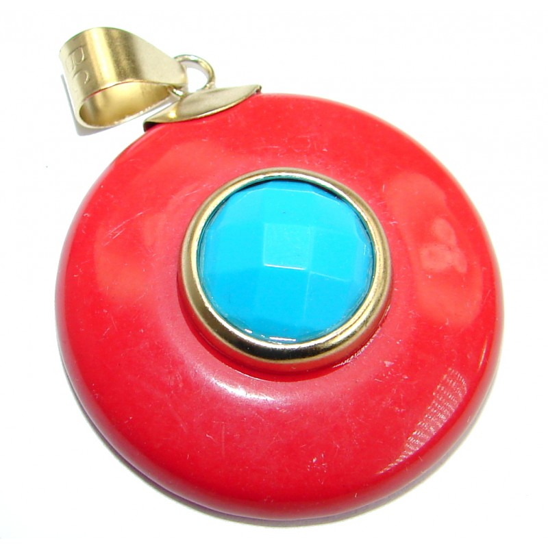 Turquoise Coral .925 Sterling Silver handmade Pendant