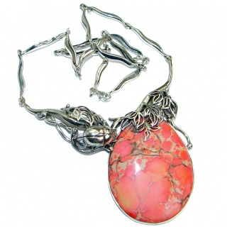 Scarabeus Peachy Sea Sediment Jasper oxidized .925 Sterling Silver handmade necklace