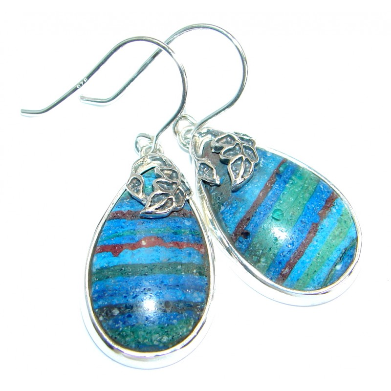 Huge Vintage Design Rainbow Calsilica .925 Sterling Silver handmade earrings