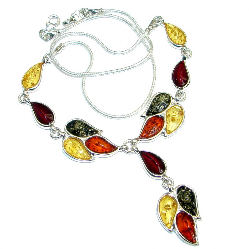 Natural Beauty Multicolor Baltic Amber Gold over .925 Sterling Silver handmade necklace