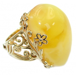 Genuine Butterscotch Baltic Polish Amber Gold over .925 Sterling Silver handmade Ring size 7 adjustable
