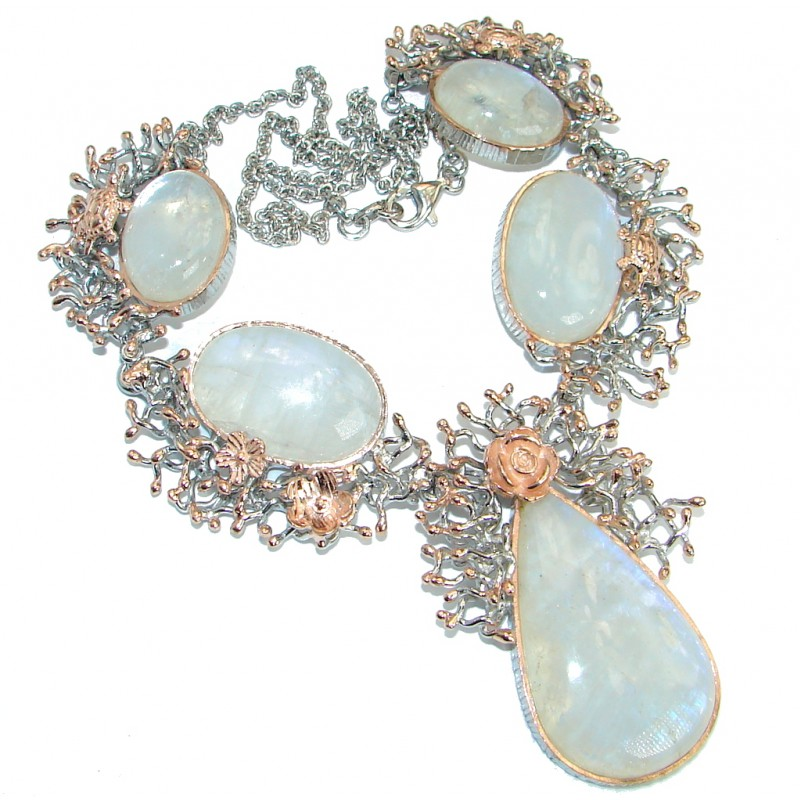 Rich Golden Reef White Fire Moonstone .925 Sterling Silver handcrafted necklace