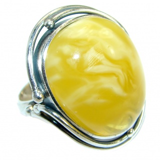 Genuine Butterscotch Baltic Polish Amber .925 Sterling Silver handmade Ring size 9
