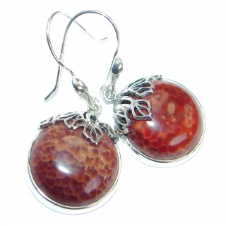 Fancy Design Orange Mexican Fire Agate .925 Sterling Silver handmade earrings