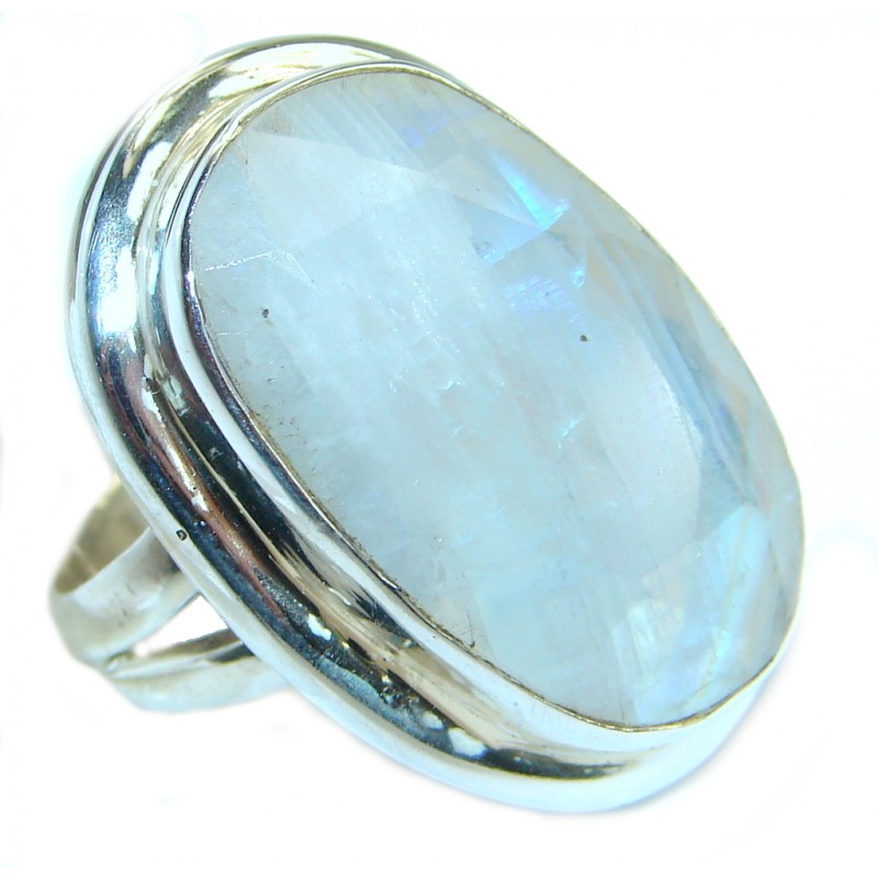 Great Fire Moonstone Oxidized .925 Sterling Silver handmade ring size 8
