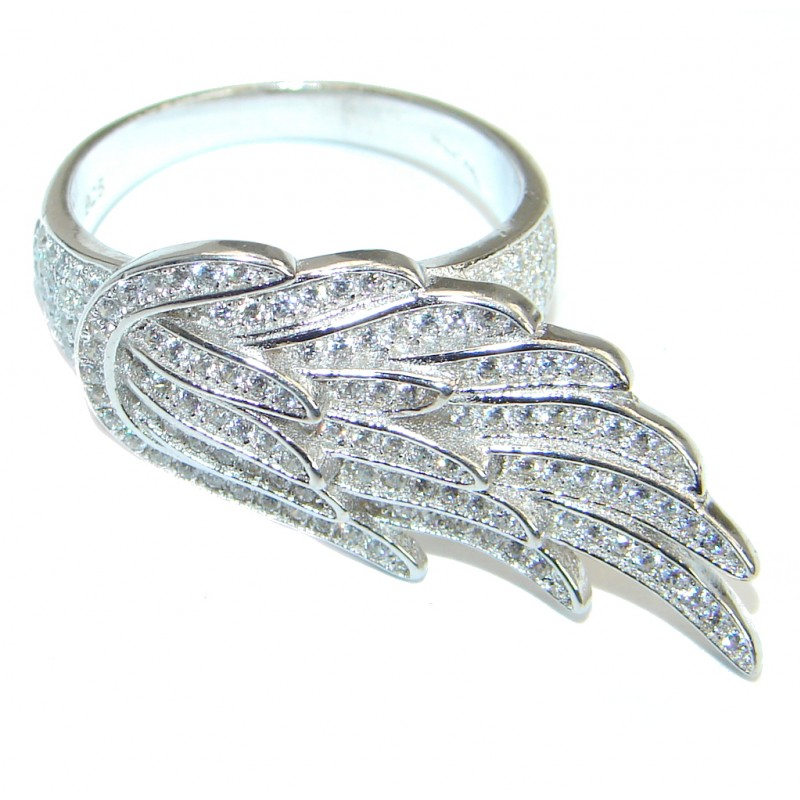 Angel's Wing White Topaz .925 Sterling Silver handmade Statement Ring s. 8