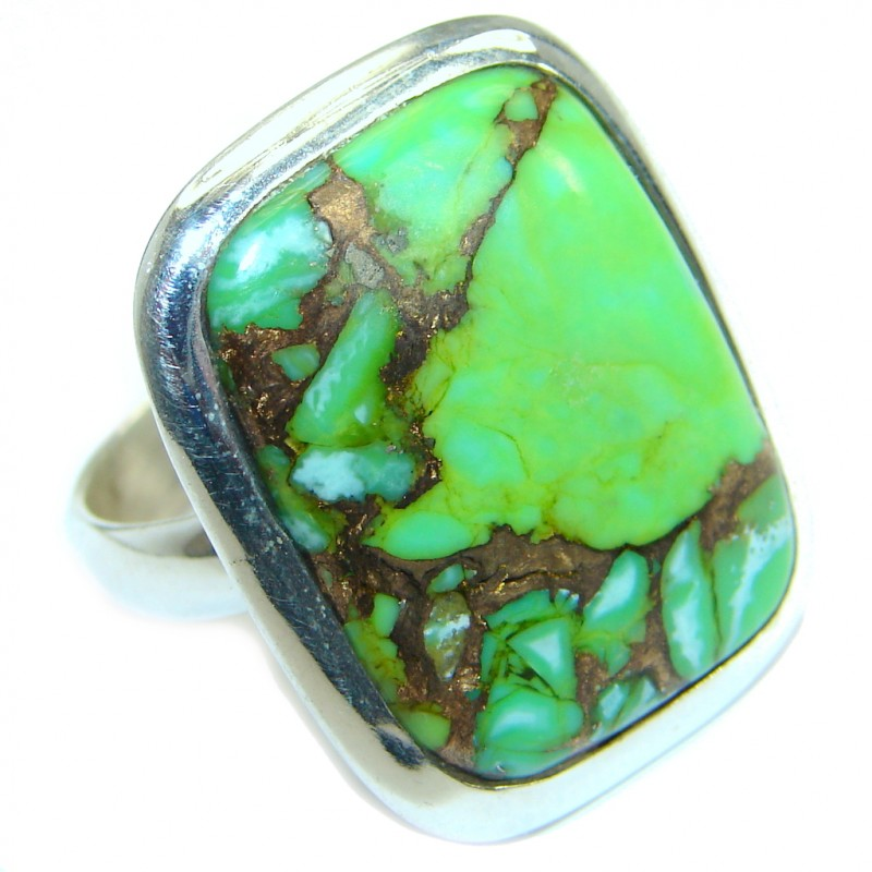 Copper Green Turquoise .925 Sterling Silver handmade Ring s. 7 1/4