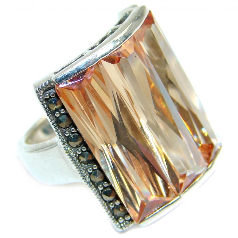 Magic Golden Cubic Zirconia .925 Sterling Silver handmade Ring s. 7 1/2