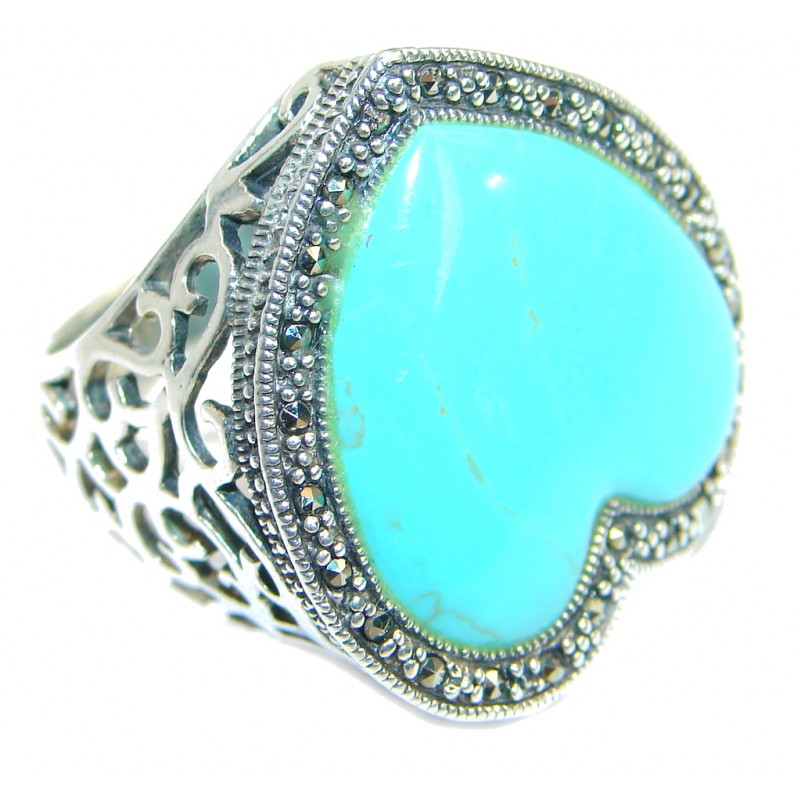 Classy Turquoise .925 Sterling Silver handmade Ring size 8