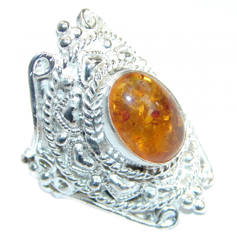 Genuine Butterscoth Baltic Polish Amber Silver Tone handmade Ring size 8