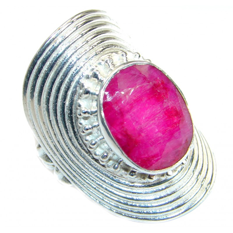 Great Ruby Silver Tone ring; s. 10 1/2