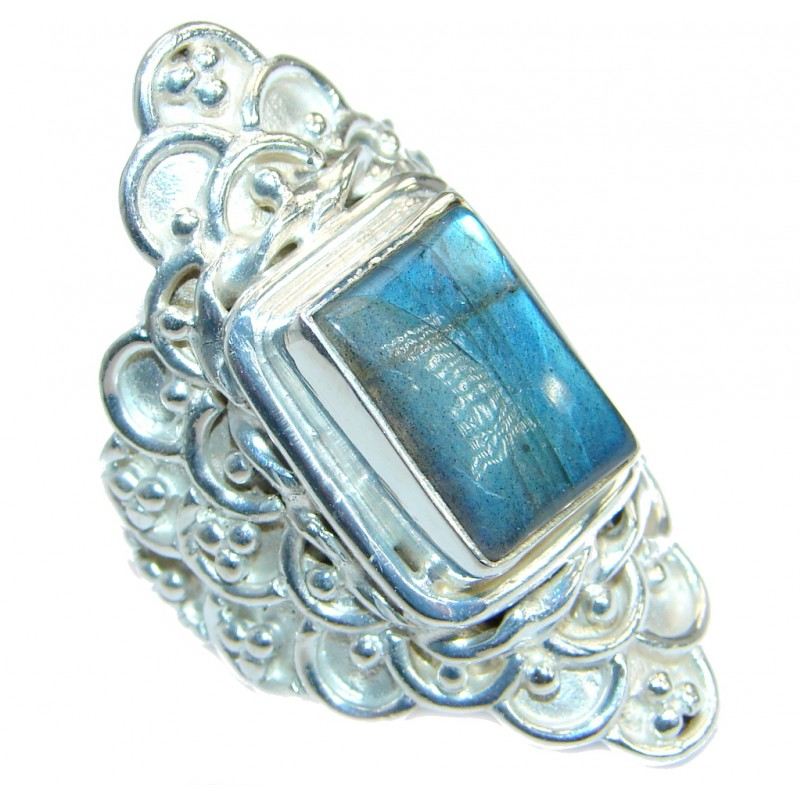 Blue Fire Labradorite Silver Tone handmade ring size 9
