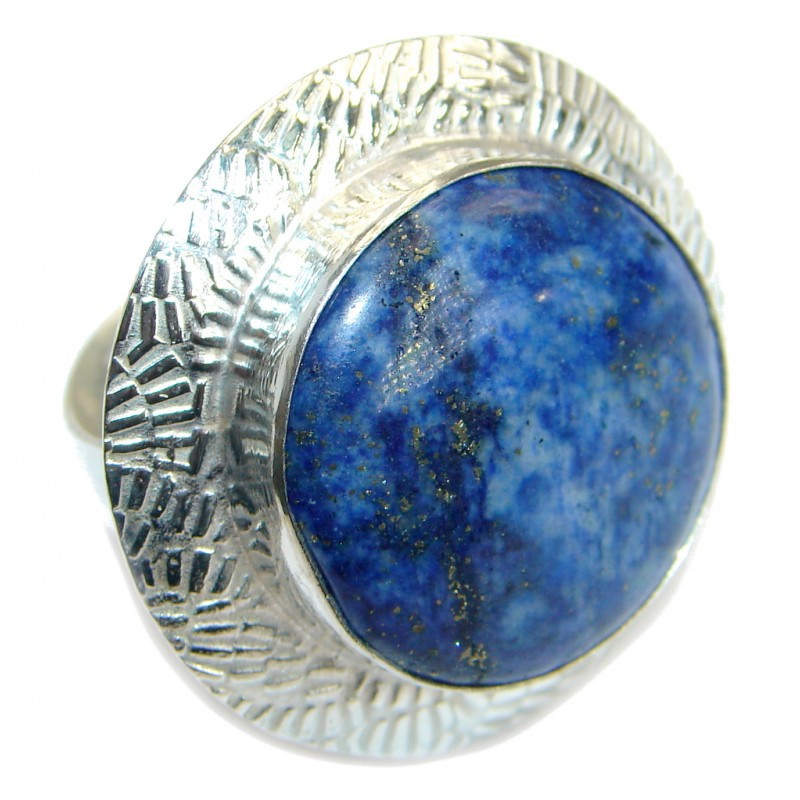 Blue Sodalite Silver Tone handmade ring size 9