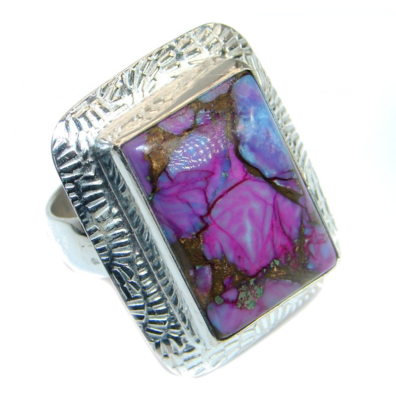 Copper Purple Turquoise Silver Tone handmade Ring s. 8 1/4