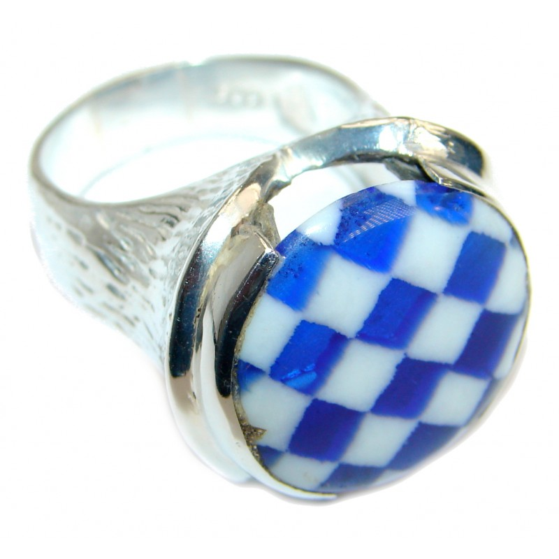 Blue Glass Silver Tone ring s. 8 3/4