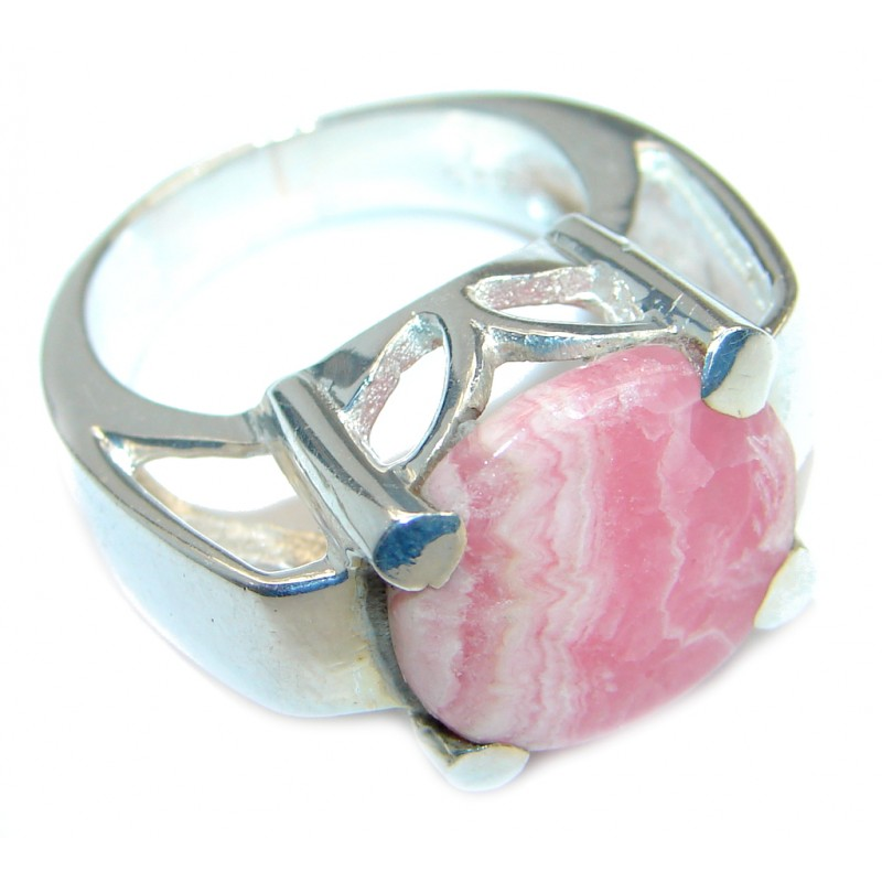 Perfect Rhodochrosite Silver Tone handmade Ring s. 7 1/4