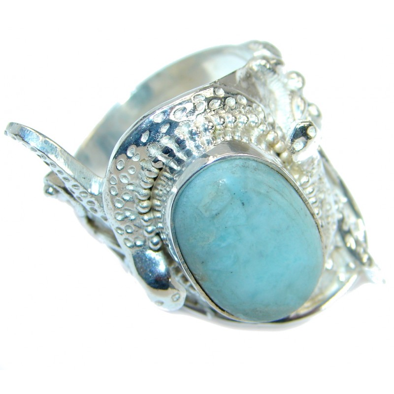 Simple Blue Angelite Silver Tone Ring s. 11
