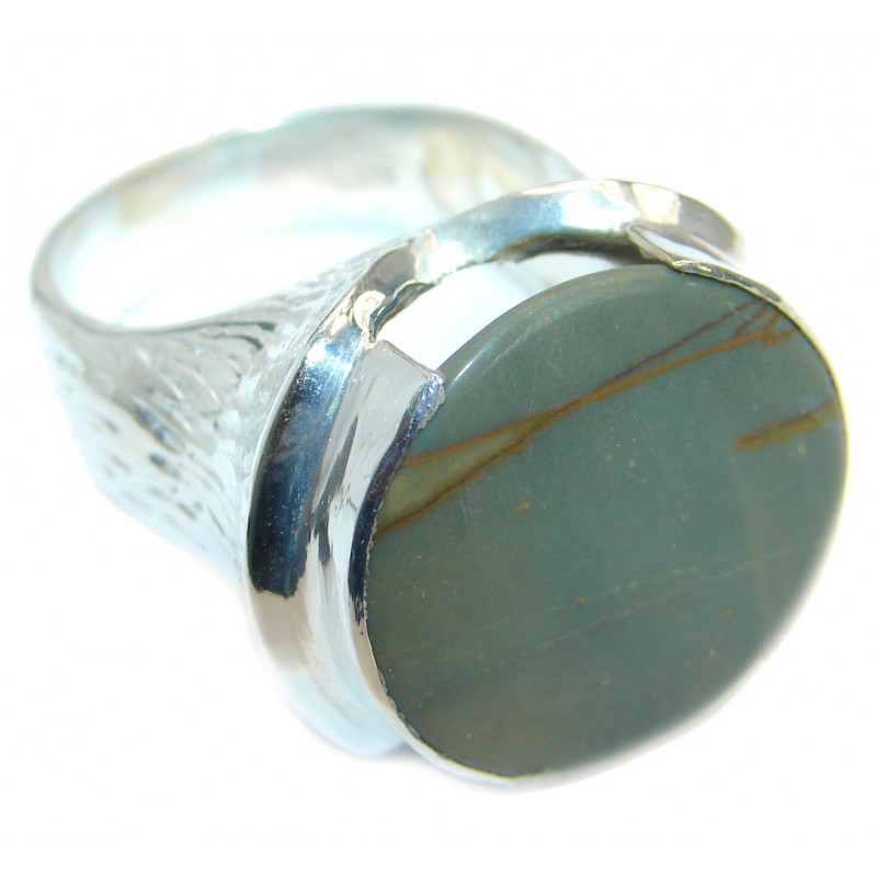 Genuine Imperial Jasper Silver Tone handcrafted ring s. 9