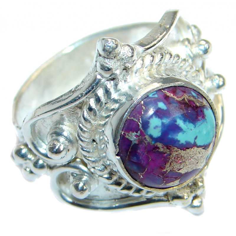 Copper Purple Turquoise Silver Tone handmade Ring s. 6 1/4