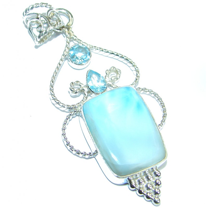 Beautiful genuine Larimar .925 Sterling Silver handmade pendant