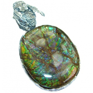 Bee Authentic Beauty Canadian Ammolite .925 Sterling Silver handmade Pendant