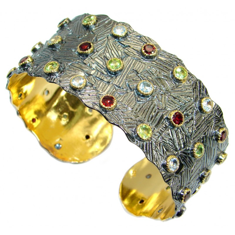 Three Gems handmade 18ct Gold plated over Sterling Silver Bracelet / Cuff