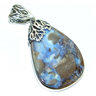 Authentic Natural Australian Boulder Opal Oxidized .925 Sterling Silver handmade Pendant