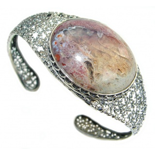 One of the kind Orange Mexican Fire Opal Oxidized Sterling Silver Bracelet / Cuff