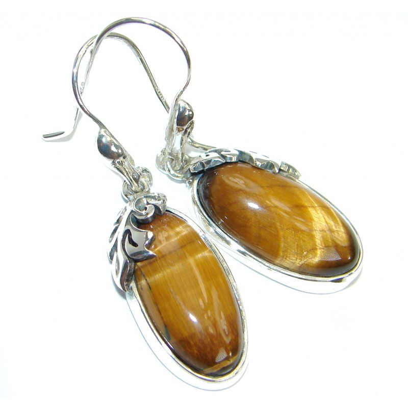 Genuine Golden Tigers Eye Oxidized .925 Sterling Silver handmade Earrings