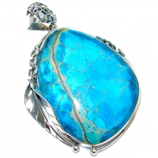 Julietta Blue Sea Sediment Jasper .925 Sterling Silver handmade Pendant