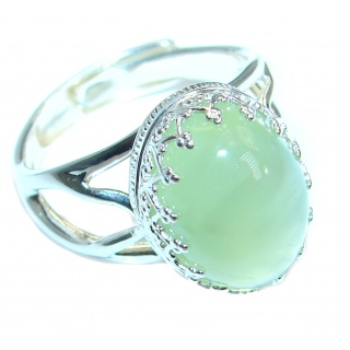 Natural Prehnite .925 Sterling Silver handcrafted Ring Size 7 adjustable
