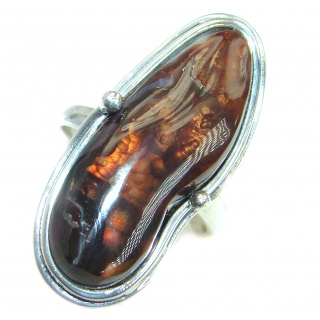 Genuine Fire Agate Mexican Sterling Silver Ring size 7 adjustable