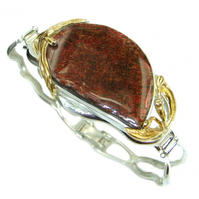 Jumbo Beautiful New Design Red Ammolite Two Tones .925 Sterling Silver handcrafted Bracelet