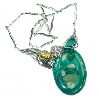 Golden Scarabaeus Genuine Malachite oxidized .925 Sterling Silver handmade necklace