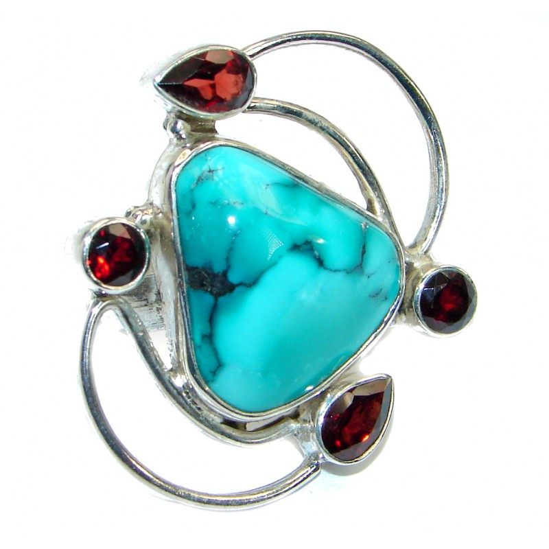 Authentic Turquoise .925 Sterling Silver handmade Ring size 8