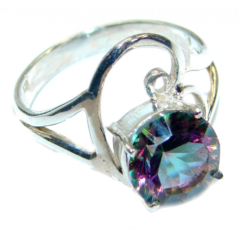 Bold Exotic Magic Topaz .925 Sterling Silver handmade Ring s. 10