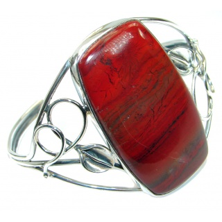 One of the kind Red Jasper Oxidized .925 Sterling Silver Bracelet / Cuff