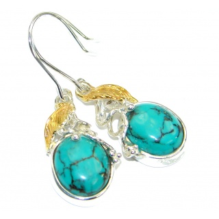 Sublime Style Turquoise two tones .925 Sterling Silver earrings