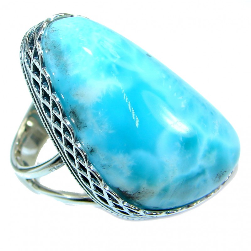 Genuine Larimar .925 Sterling Silver handcrafted Ring s. 8 adjustable